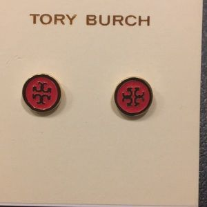 Tory Burch Gold and Rad TT Face Earrings